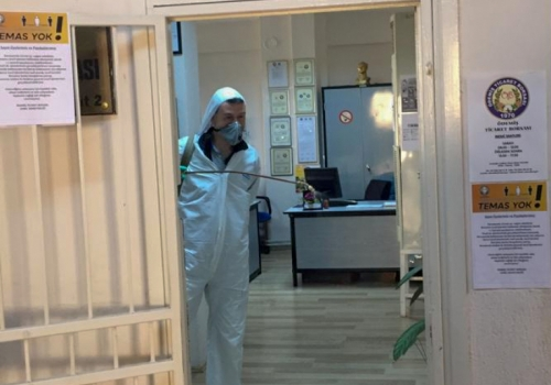Ödemiş Ticaret Borsamızın dezenfekte çalışmaları yapılmıştır.